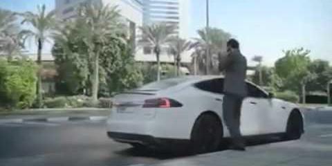 New TESLA technology car( self driving taxi-car ) in DUBAI