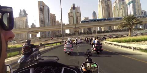 Gulf bike week parade 2014-100s motorcycles in Dubai